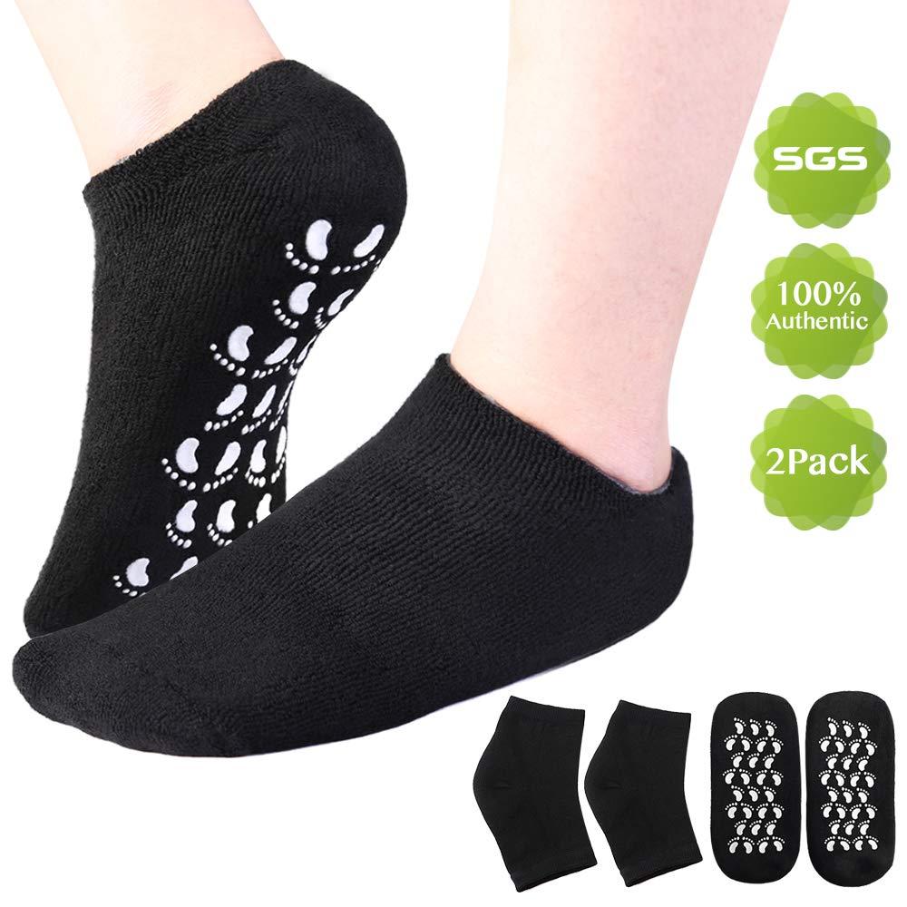ANLAN Moisturizing Socks Feet SPA Care Ultimate Treatment Gel Heel Socks for Dry Cracked Rough Heel Skin - 2 Pair