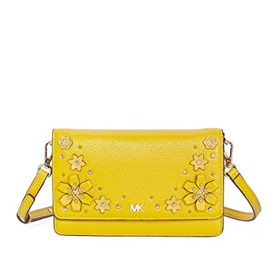 77577019b Michael Kors Floral Embellished Convertible Crossbody- Sunflower ...