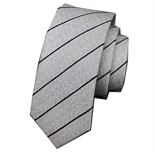 Y-WEIFENG Men Tie Casual Tie Pequeño Novio Boda Plata White ...