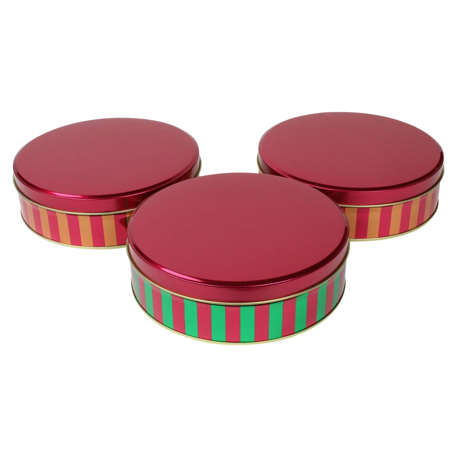Christmas Striped Metallic Christmas Cookie Tins - Set of 3 LNK