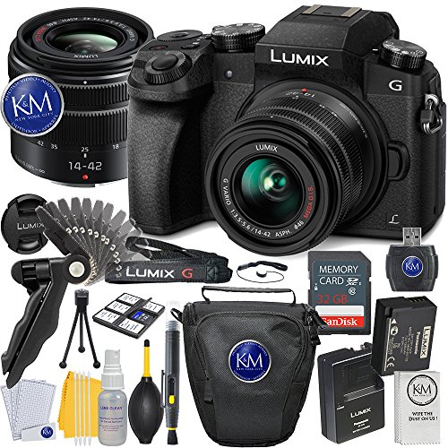 Panasonic Lumix DMC-G7 Mirrorless Camera with 14-42mm Lens (Black) + 32GB Memory + Basic Photo Accessory (Mega Accessory Bundle)