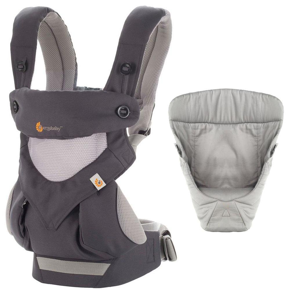Ergobaby Bundle - 2 Items: Carbon Grey All Carry Position 360 Baby Carrier, Easy Snug Infant Insert Grey