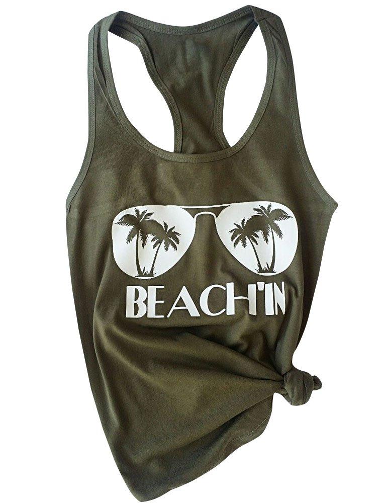 Ezcosplay Women U Neck Glasses Beach in Print Cold Back Tanks Sleeveless Tops