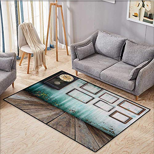 (Clock Floor Mat for Kids A Vintage Clock and Empty Picture Frames in an Old Room Wooden Backdrop Print Door Mat Indoors Bathroom Mats Non Slip 3'x5' Green and Brown)
