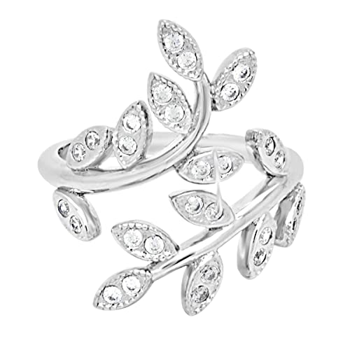 461b247d6 Amazon.com: Sterling Silver CZ Leaf Statement Ring: Jewelry