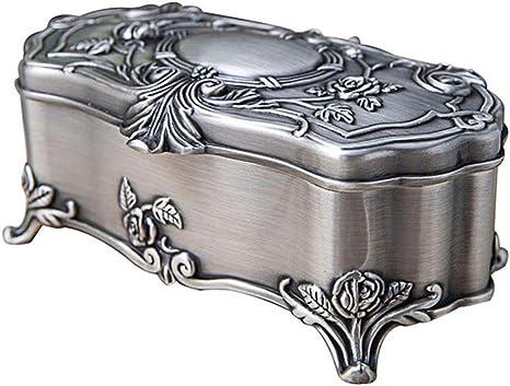 HAOCHIDIAN Joyero de metal vintage creativo con caja de aleación de zinc europea para joyas, anillos, pequeños joyeros, organizador de almacenamiento, caja de regalo de cumpleaños para mujeres y niñas: Amazon.es: Deportes