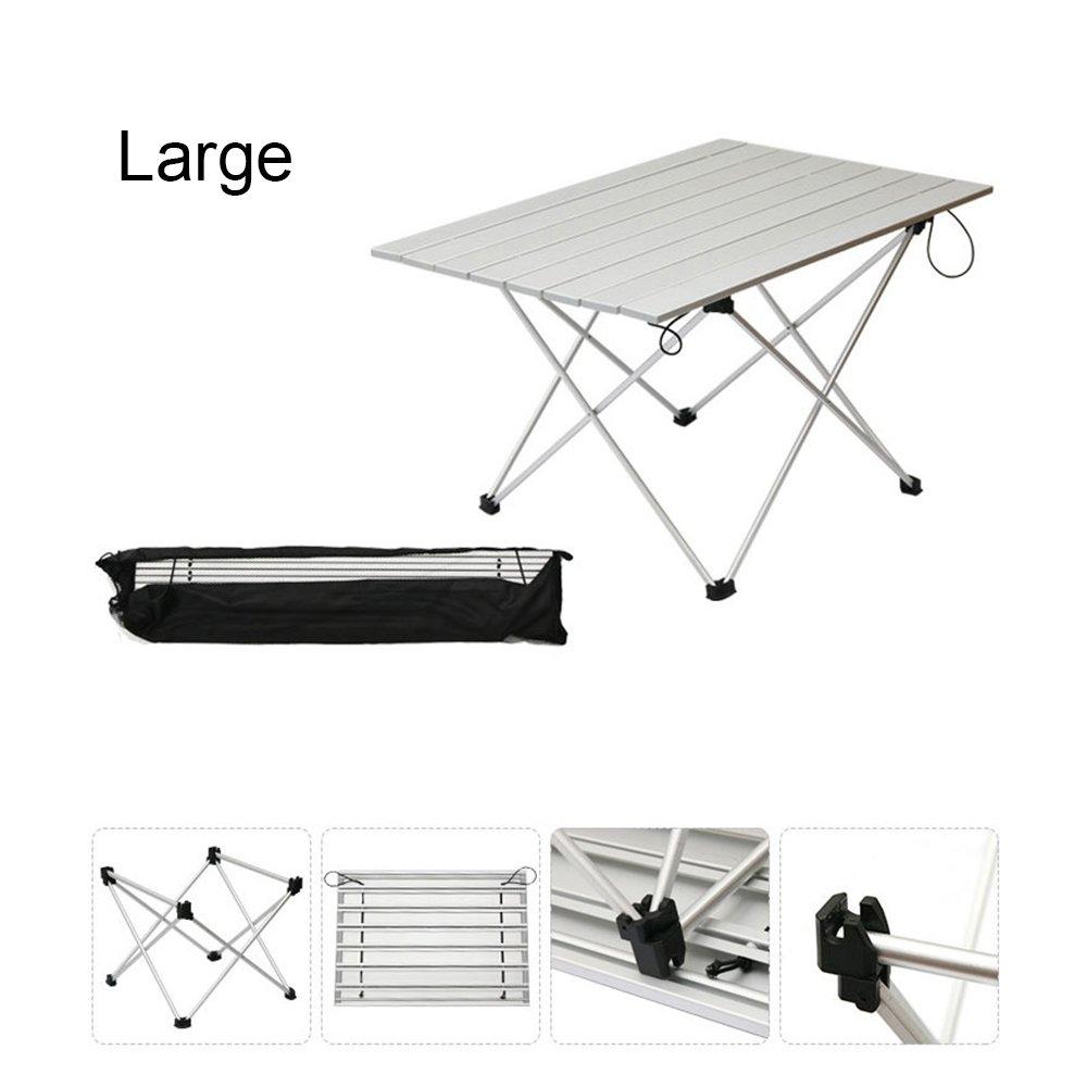 hwkaizキャンプテーブルアルミアウトドア折りたたみコンパクト軽量ポータブルピクニックテーブルインドア、アウトドア B074PQFYPT   Large