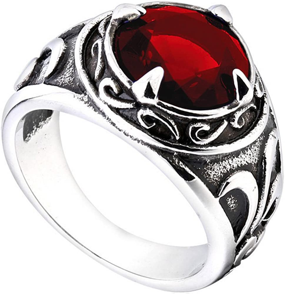 PMTIER Acero Inoxidable Vendimia Patrón de Flores Redondas Piedra Preciosa Anillo para los Hombres Negro Rojo Azul Color