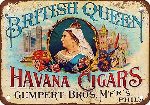 Tin Sign 8X12 inches British Queen Havana Cigars Metal Tin Sign