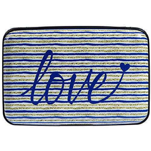 Protector Hard Case - Aluminum Wallet RFID Blocking Metal Credit Card Holder Slim Hard Case (Text Love on Striped)