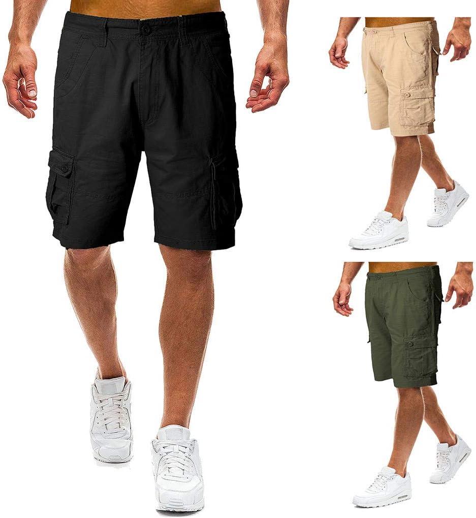 Farmerl Summer Mid-Rise Mens Loose Casual Multi-Pocket Tooling Cargo Shorts