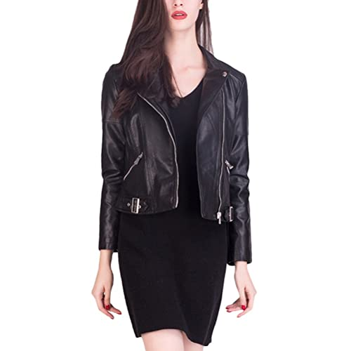 Zhhlinyuan Chaqueta excelente Vintage New Motorcycle Style PU Leather Short Jackets Womens Lapel Lon...