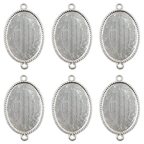 (Dcatcher 24 PCS Bezel Pendant Trays Double Loops Oval Cabochon Settings Trays Pendant Blanks (Silver))