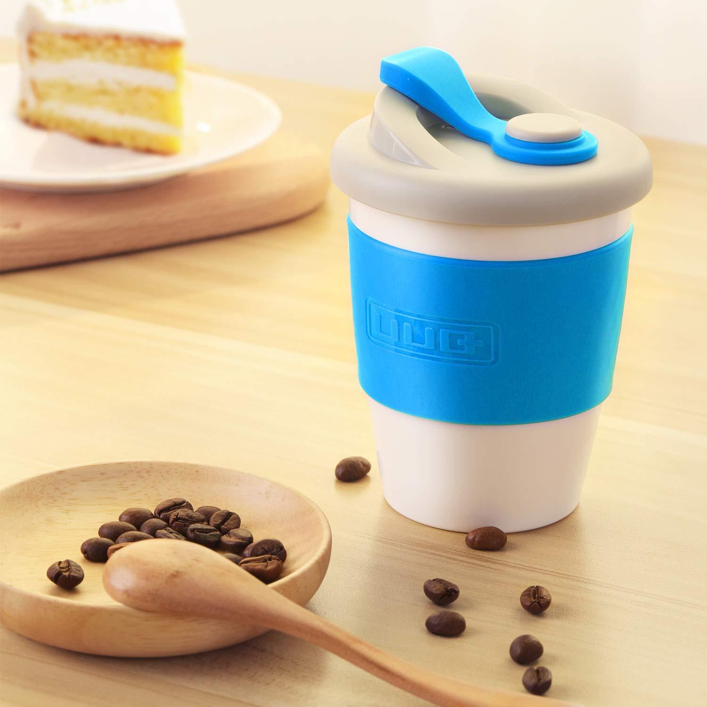 UUQ Mug Café Reutilizable, Taza de Café, Café para Llevar, 12 oz Taza de café con Manga Antideslizante es Apto para lavavajillas y microondas, 340ml ...