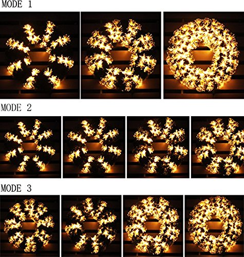pre-lit white Color LED Fiber Optic Christmas Wreath (24in, warm white) by HOLIDAY STUFF (Image #2)