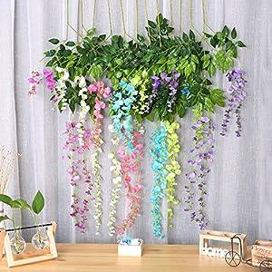 Felice Arts Artificial Wisteria Vine Silk Hanging Flower Wedding Decor-12Pcs 10