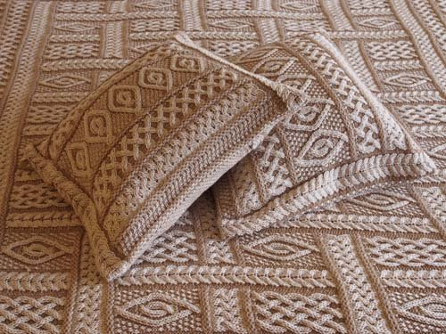 100% Irish Merino Wool Celtic Aran Knit Two Tone Set of 2 Cushion Covers by West End Knitwear by The Irish Store - Irish Gifts from Ireland