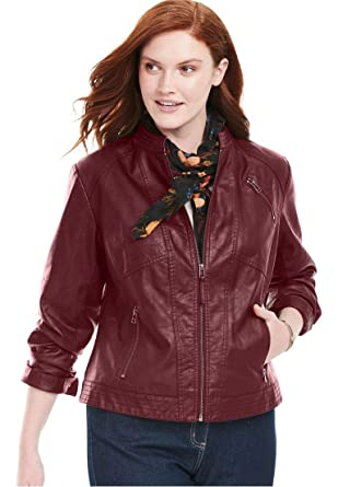 41e79aed244 Woman Within Plus Size Zip-Front Faux Leather Jacket - Antique Maroon