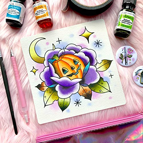Horror Spooky Halloween Pumpkin Jack O Lantern Traditional Tattoo Flash Print by Michelle Kent ()
