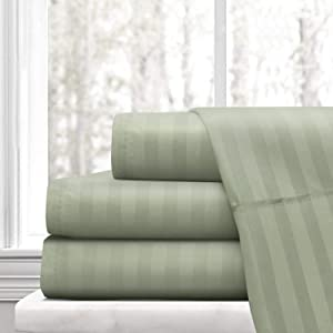 CLASSIC HOME COLLECTION Hotel Luxury Certified 100% Cotton { 1800-TC } 4-PCs Sheet Set Fits Mattress 21-24'' Deep Pocket (California King Size) Best Sheets for Bed (Stripe, Sage Green)