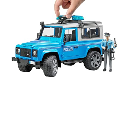 Bruder 02597 Land Rover Police Truck W/ Lights & Sound Module, Light Skin Police Officer Figure with Accessories: Toys & Games