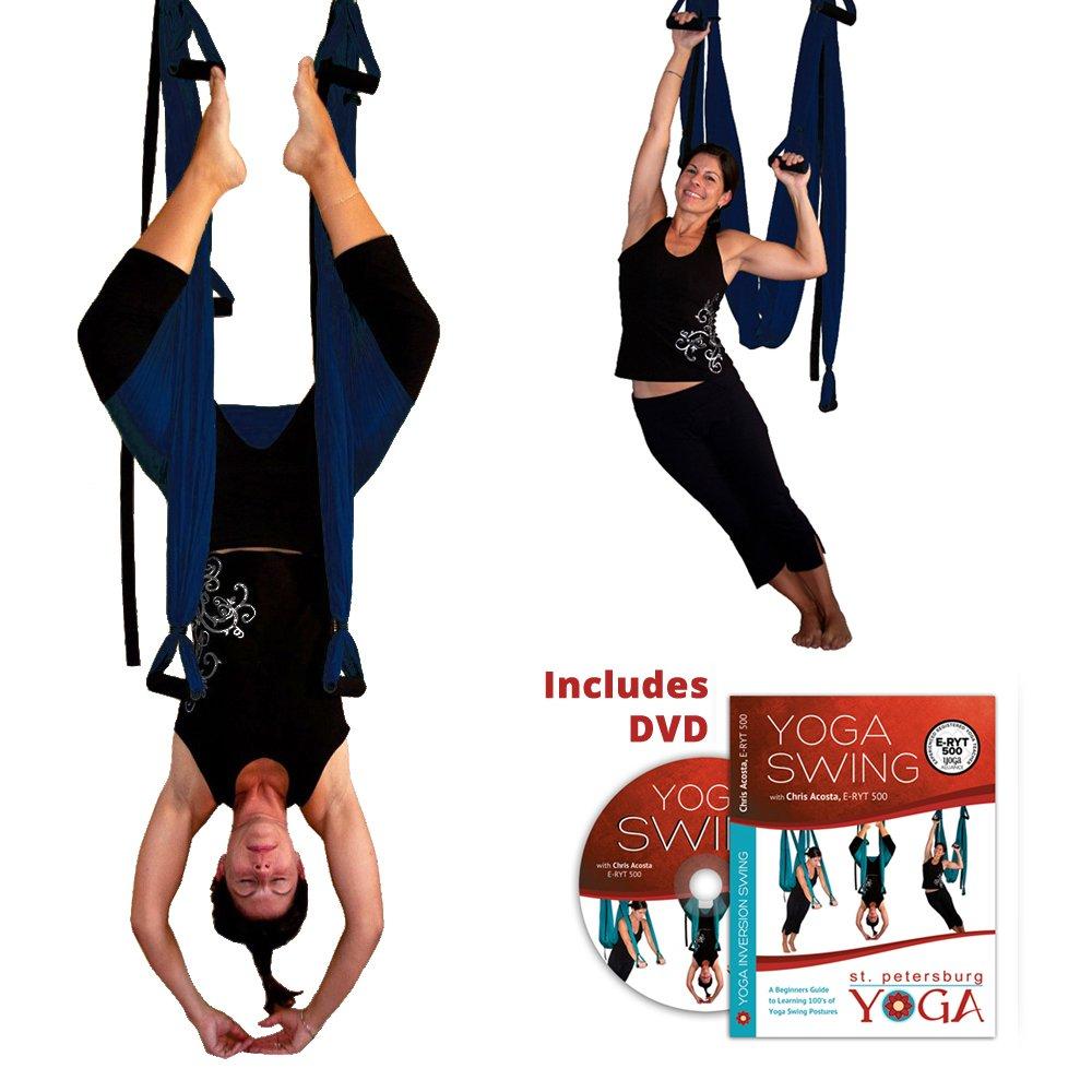 Dark Blue Yoga Inversion Swing + Yoga Swing DVD by Chris Acosta by Gravotonics; St. Petersburg Yoga