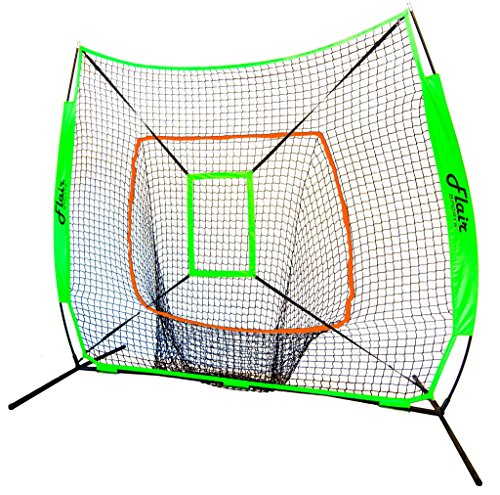 Flair Sports Baseball & Softball Net for Hitting & Pitching by Heavy Duty 7x7 Pro Series   Indoor & Outdoor Training Net   Bow Frame + BONUS Strike Zone Included (Neon Green, Neon Orange)