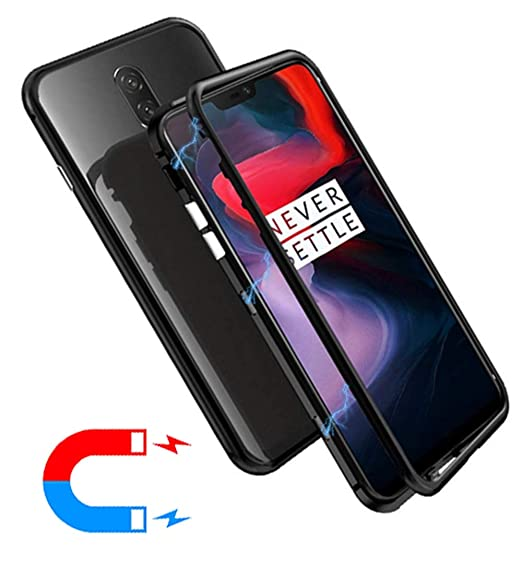 best sneakers 1fad2 70e42 OnePlus 6 Case, HikerClub Magnetic Adsorption Phone Case Built-in Strong  Magnet Metal Flip Frame + Clear Tempered Glass Back Ultra Slim Cover for ...