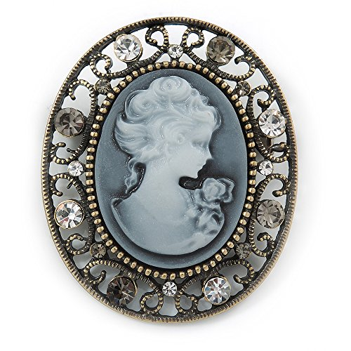 Vintage Inspired Classic Cameo Brooch In Bronze Tone - 45mm Across -