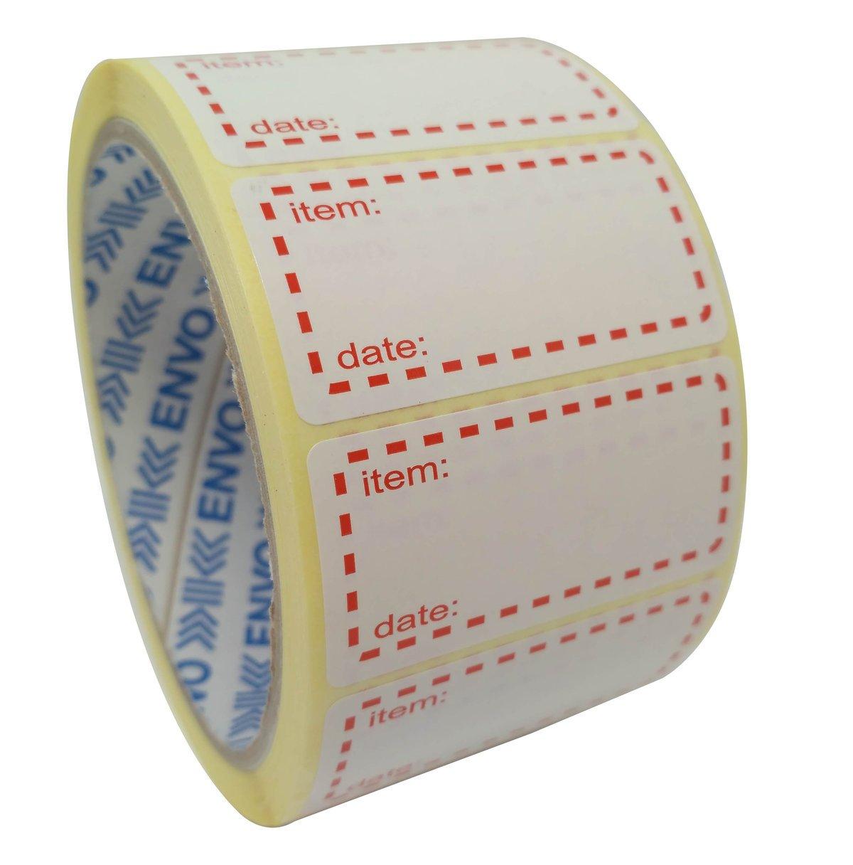 500 x Congelatore Etichette Su Rotolo, Dimensioni 50x25mm, Bianco E Rosso Data Etichette Per Alimenti Autoadesivi ENVO