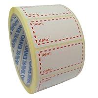 500 x Autocollants Congelables Étiquettes De Congélateur Sur Rouleau, Taille 50x25mm, Blanc Et Rouge Étiquettes De Date Pour L'autocollant De Nourriture