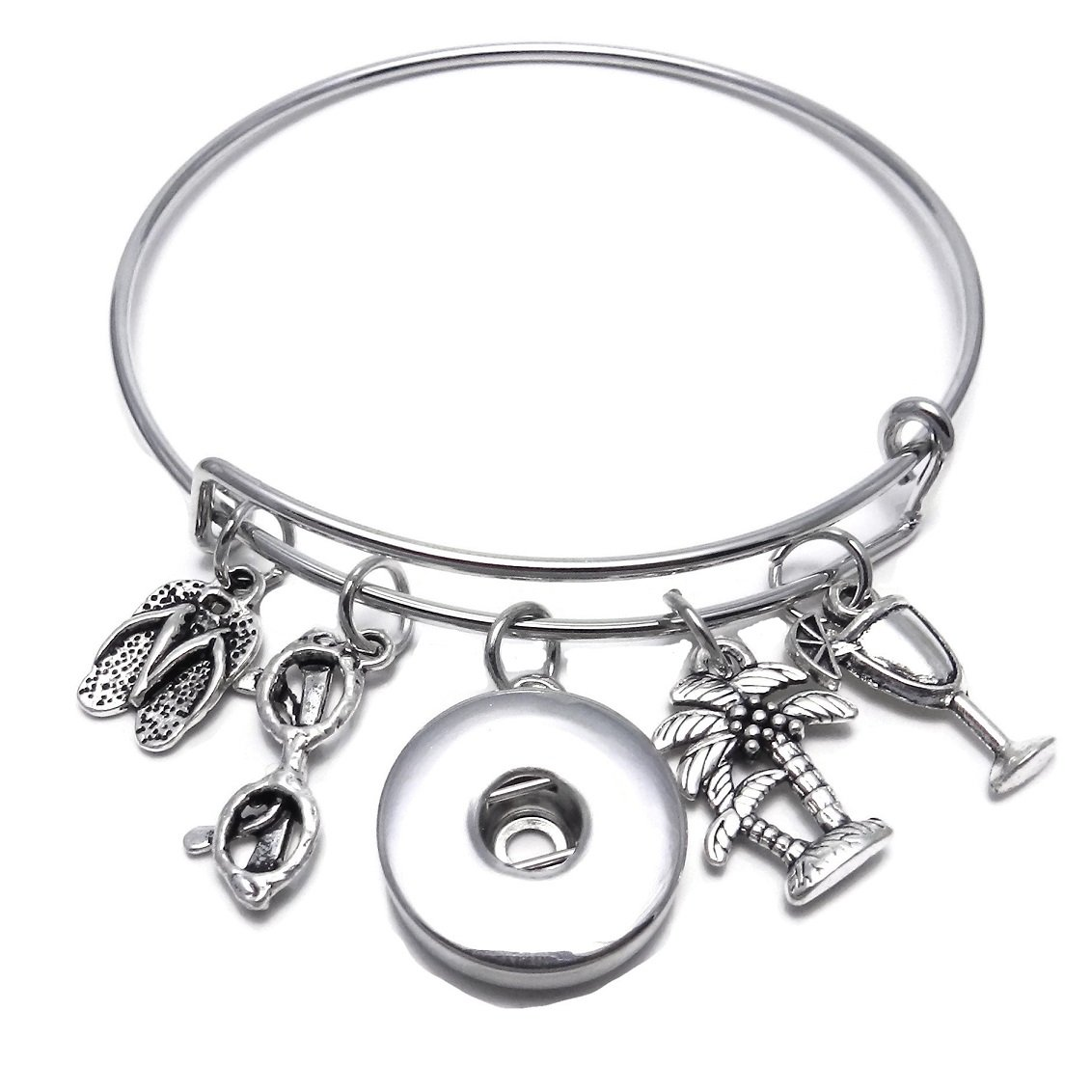 My Prime Gifts Expandable Beach Flip Flop, Palm Tree, Sunglasses & Drink Wire Bangle Charm Bracelet holds 18-20mm Snap