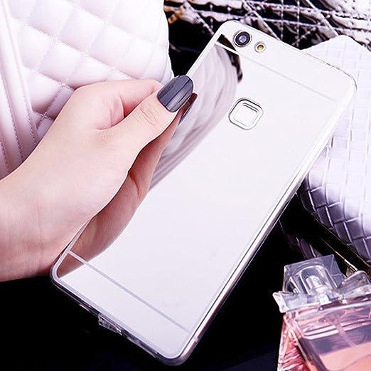 Funda Huawei P10 Lite,Carcasa Huawei P10 Lite,Cristal brillante Brillo cristalino Enchapado Espejo Flexible TPU Silicona Fundas Skin Cover Carcasa ...