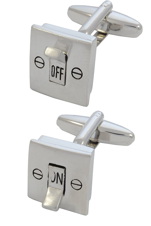 COLLAR AND CUFFS LONDON - Boutons de Manchette AVEC BOITE-CADEAU - Grand Qualité - Interrupteur Électrique - On and Off - Laiton - Couleur Argent - Bricolage Électricien COLLARANDCUFFSLONDON40210