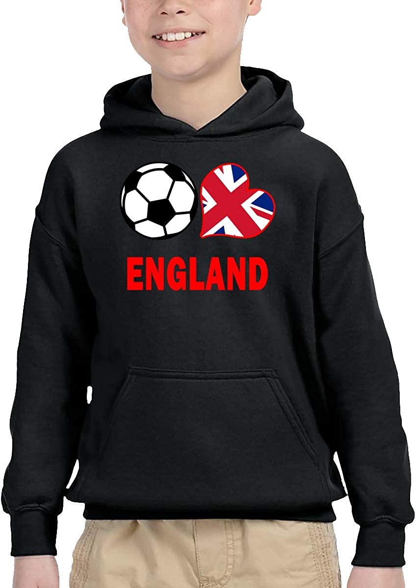 UGFGF-1S Soccer Heart Football England Flag Toddler Boys Girls Long Sleeve Sweatshirts Pullover Hoodie 2-6T