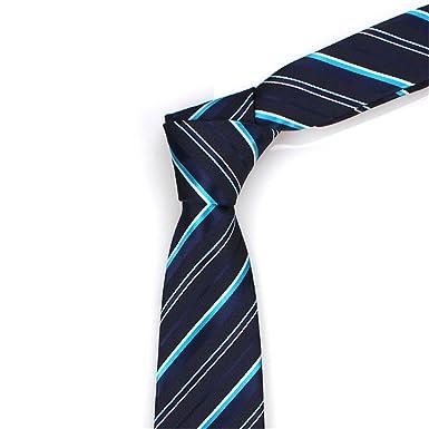 HXCMAN 7cm azul marino blanco rayas corbata diseño clásico 100 ...