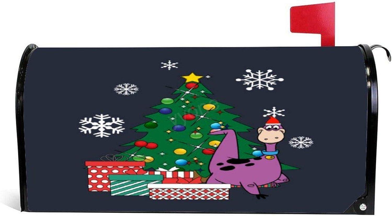 "yyone Mailbox Cover,Dino Around The Christmas Tree Flintstones Magnetic Mailbox Cover Wraps Post Box Yard Garden Decor Standard Sized 25.5""X 20.8"""