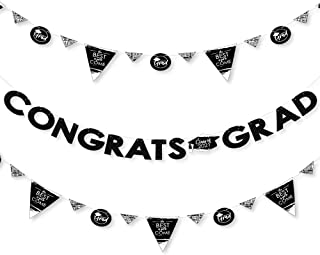 product image for Big Dot of Happiness Black and White Grad - Best is Yet to Come - 2021 Black and White Graduation Party Letter Banner Decoration - 36 Banner Cutouts and Congrats Grad Banner Letters