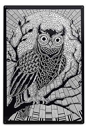 Owl - Coloring Book Aluminum Wall Sign, Wall Decor