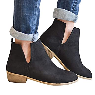 f86c2405ab12c Womens Slip on Chunky Sides Slit Cut Block Heel Flat Bootie Low Heel