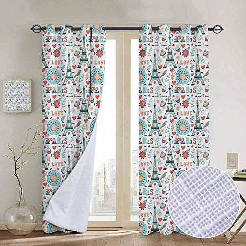 NUOMANAN Bedroom Curtains 2 Panel Sets Eiffel,Retro Colored Cheerful Composition with Floral Figures Cupcakes and Je`Taime Print, Multicolor,Complete Darkness, Noise Reducing Curtain 100