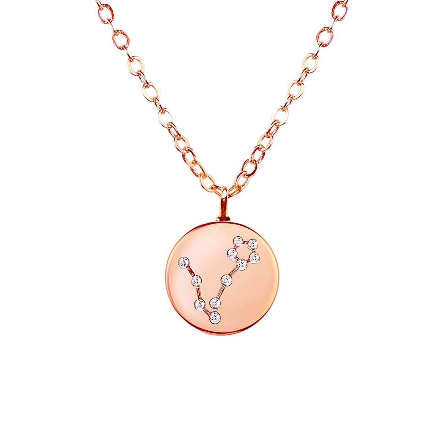 MignonandMignon Gold Zodiac Constellation Disc Necklace Cubic Zirconia Crystal Necklace Birthday Necklace Gift Graduation Gift for Her