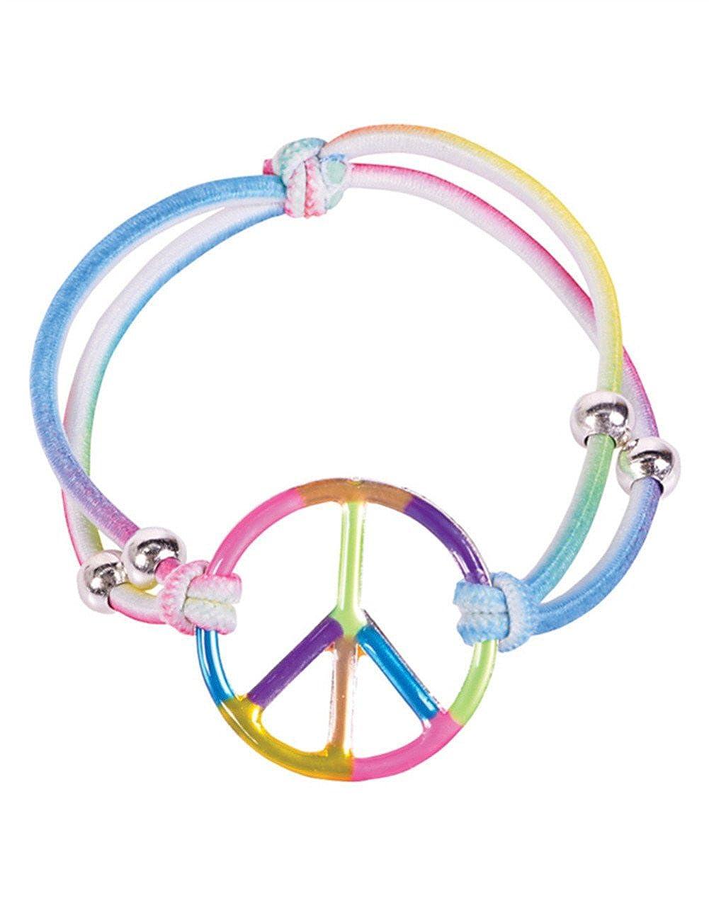 tienda hace compras y ventas Girls Elastic Rainbow Peace Bracelets Girls Party Favors: Set of of of 12  bienvenido a elegir