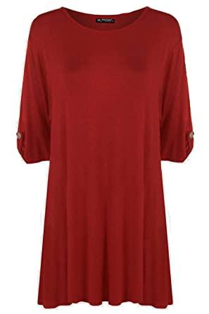 8d39b7cdd56 Image Unavailable. Image not available for. Color  Be Jealous Womens Ladies Plus  Size Button Short Turn up Sleeves Flared Swing Dress Long Top