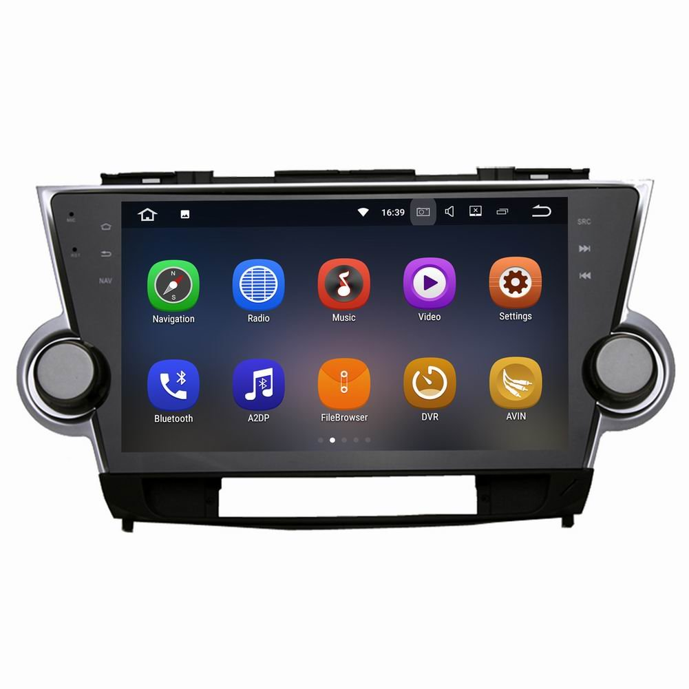 SYGAV Android 7.1.1 Nougat Car Stereo Video Player for Toyota Highlander 2009-2012 Quad Core 10.2 Inch In-dash 2 Din 1024x600 GPS Nav Sat with Wifi Bluetooth Radio ¡­