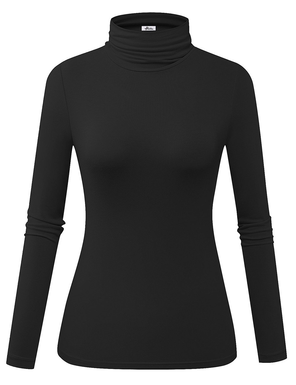 Herou Model Stretchy Fitted Long Sleeve Mock Black Turtleneck Tops for Women Small by Herou