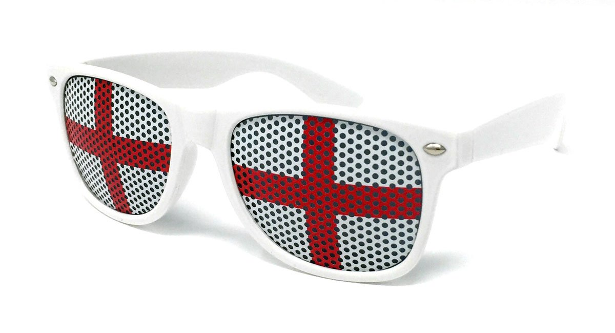 8feb3e08fbe6 ENGLAND Classic Sunglasses World Cup Football St.George s Day Glasses  Novelty Fancy Dress Patriotic Flag Merchandise  Amazon.co.uk  Toys   Games