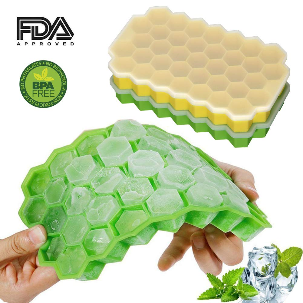 Ice Cube Trays with Lids 2 Pack Silicone BPA Free Ice Cube Molds Flexible Easy Release Ice Cube Trays Green/Yellow