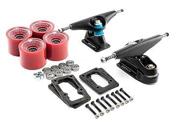 Carver C7 Surf/monopatín negro camiones Kit con ruedas, rodamientos, Hardware, elevadores