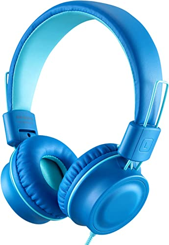 iRAG J01 Kids Headphones Foldable Stereo Tangle-Free 3.5mm Jack Wired Cord On-Ear Headset for Children Teens Boys Girls iPad iPhone School Kindle Airplane Plane Tablet Ocean Blue